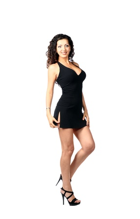 sexy brunette in  black dress Stock Photo - 8704228