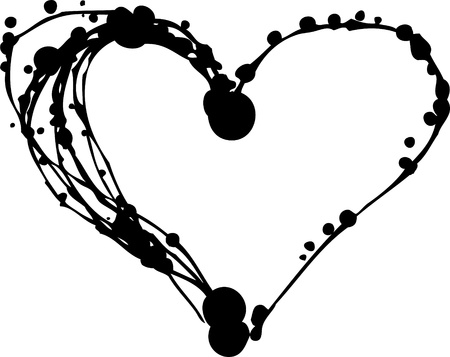 grunge heart: Set Of Blots And Stains - heart symbol Illustration