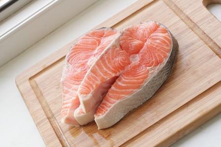 fresh salmon -  red fish on desk in  kitchen Stock Photo - 9445944