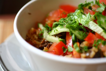 Fresh Vegetable Salad with pepper and tomatos , Closeup shot photo