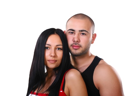 Happy young ethnic latino couple isolated on white photo