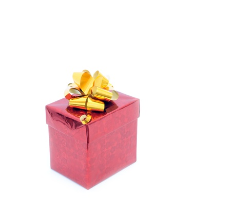 red giftbox isolated on white with clipping path photo
