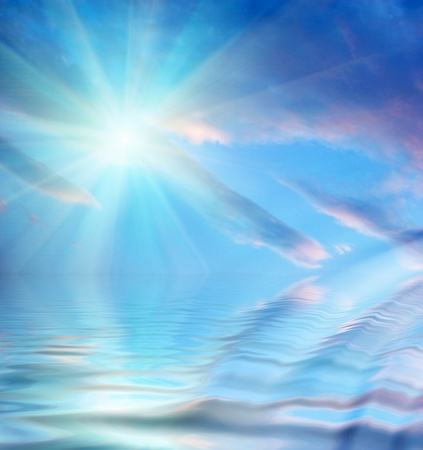sun, sky, clouds and water with ripples Stock Photo - 9791921