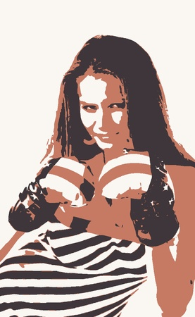 women in boxing gloves vector design Vector