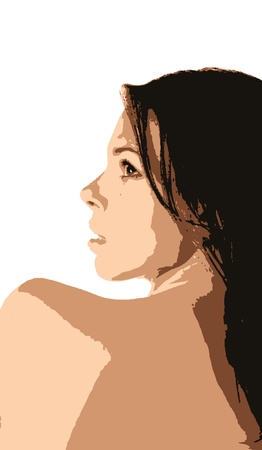brunette face  Vector