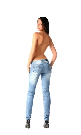 semi nude woman in jeans  Vector