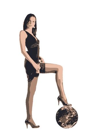 dominacion: las mujeres en el vestir con la pierna en la Tierra Vectores