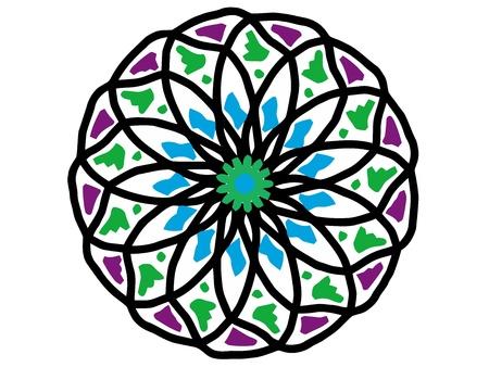 ornamental round mandala pattern in colors  photo