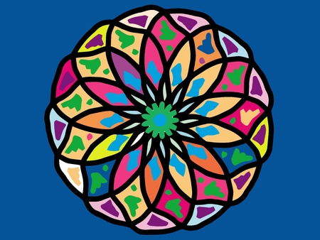 ornamental round mandala pattern in colors photo