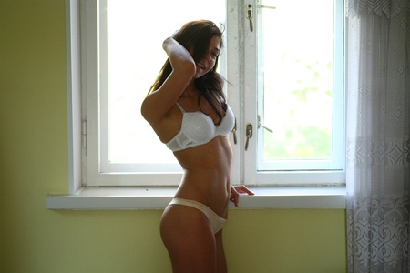 Shirtless girl in panties agains window photo