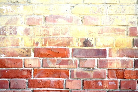 weathered stained old  red brick wall background  closeup Stock Photo - 13158669