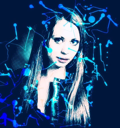 young blonde artwork paint with blots on black background Stock Photo - 13260782