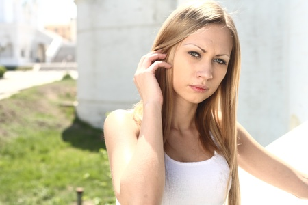 Young blonde woman - outdoors summer portrait photo