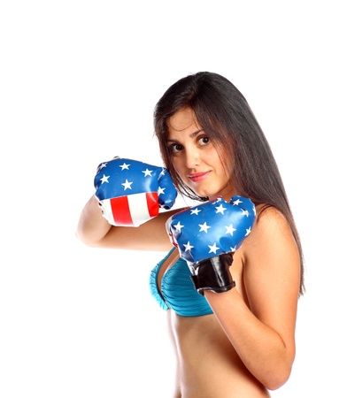 Young beautiful woman during fitness time and boxing Stock Photo - 13794250