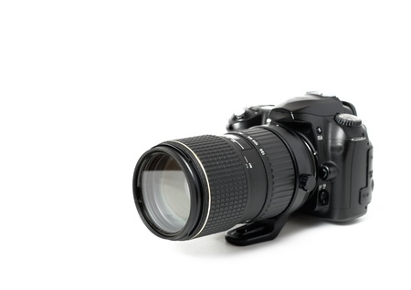 digicam: Black digital camera isolated on white