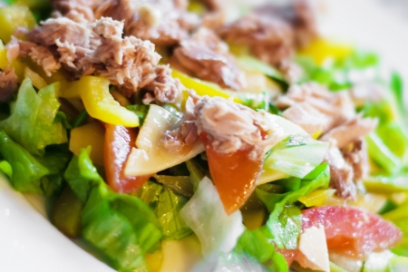 closeup image of a mixed chicken meat with vegetables salad photo