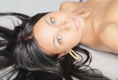 brunette  blank expression photo