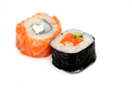 two delicious sushi isolated on white Stock Photo - 15351329