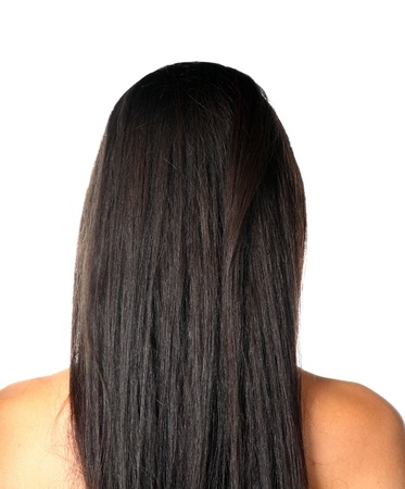woman back of head: young woman with beautiful black hair Stock Photo