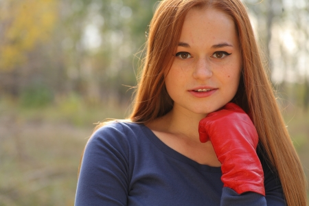 portrait of cute red haired young woman, outdoor Stock Photo - 15690269