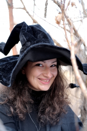 demoniacal: Shot of a gothic woman in a autumn park. Halloween. Stock Photo
