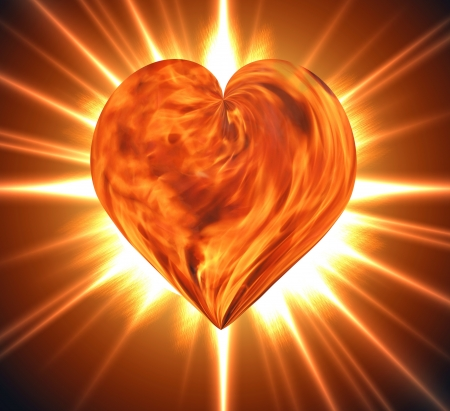 Heart of fire burning close up photo