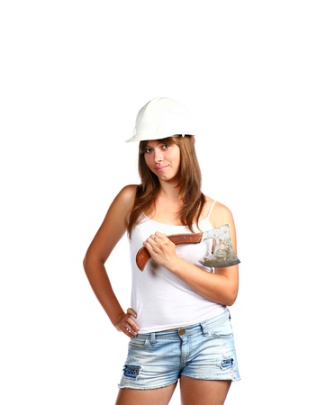 Young woman 20-25 years  with axe on white background photo