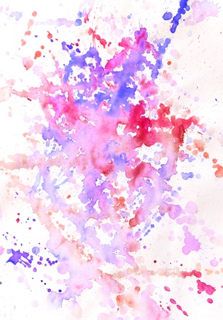 aquarell: Abstract blue and red pink watercolor background spots and blots