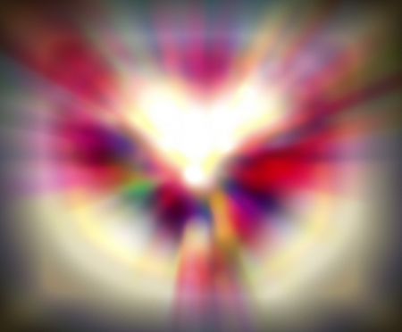 duality: Duality of feelings - heart symbol made of blurred spots of light Stock Photo