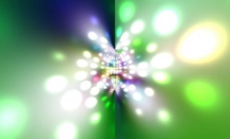 de focus: Multiple lights blur background green blue trace