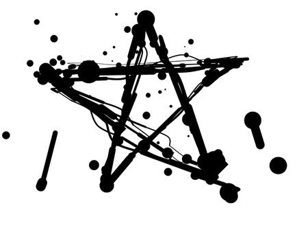 star and crescent: Estrella de borrones y manchas sobre un fondo blanco. Una ilustraci�n
