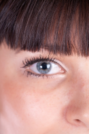 dilate: attractive woman eyes closeup part of face (focus on hairs)