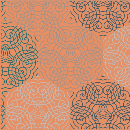 Seamless wallpaper pattern, in blue and orange Stock Vector - 17577260