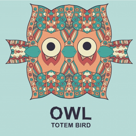 Vintage design with totem bird owl. Vector image Vector