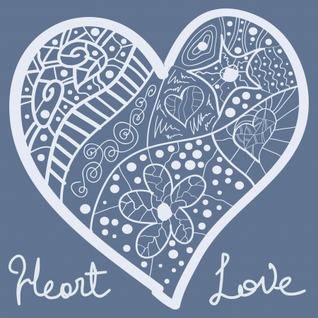 heart in pastel blue hand drawn illustration vector eps. Valentine love concept for post card or wedding invitation Stock Vector - 17638049