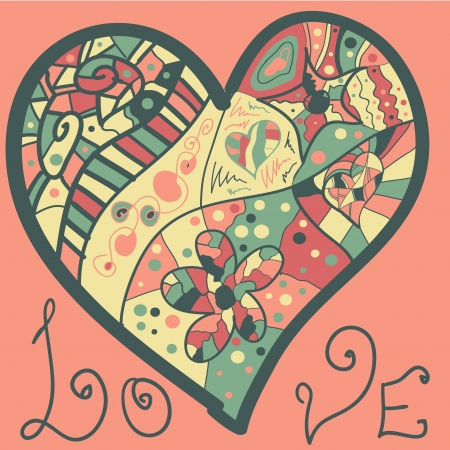 heart in red and green hand drawn illustration vector eps. Valentine love concept for post card or wedding invitation Stock Vector - 17638110