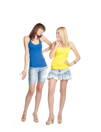 two close frends in tank top on white background studio full body shot