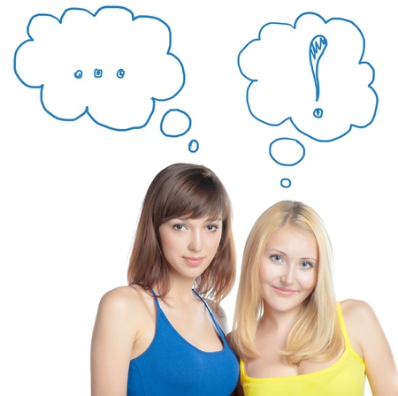 tanktop: Two attractive girl friends thinking - blond and brunette on white background. Yellow and blue tank top Stock Photo