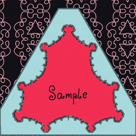 Triangle Red Vector ornate frame with sample text  Perfect invitation or announcement  Background pattern is included as seamless with clipping path  All pieces are separate  Easy to change and edit  Vector