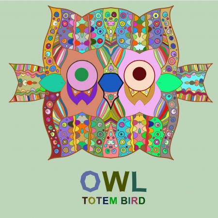 Vintage design with totem bird owl. Vector multicolored image