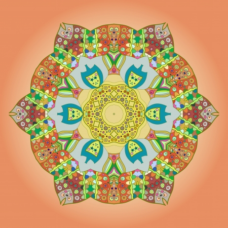Oriental mandala motif round lase pattern on the yellow background, like snowflake or mehndi paint on orange color background Vector