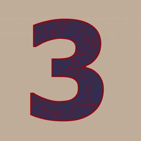 wright: number three ornamental shape design in different colors. Hand wright shape and ornament