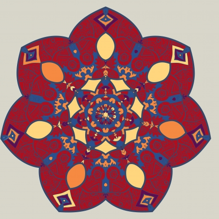 Oriental mandala motif round lase pattern on the yellow background, like snowflake or mehndi paint on deep red color background Vector