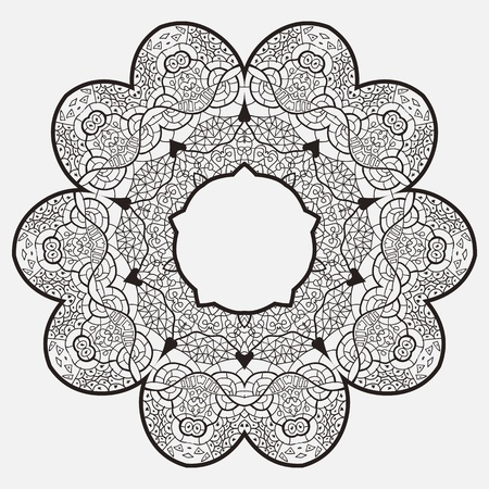 Oriental mandala motif round lase pattern on the gray background, like snowflake or mehndi paint Vector