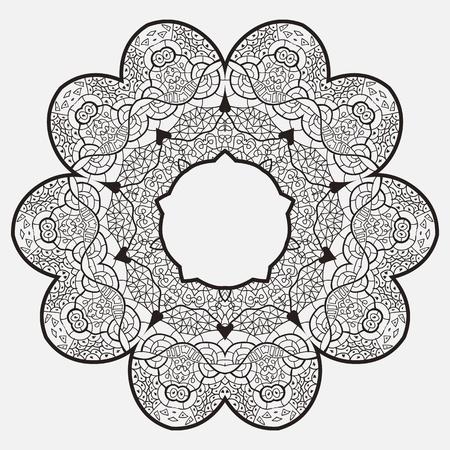 Oriental mandala motif round lase pattern on the gray background, like snowflake or mehndi paint Stock Vector - 18115745