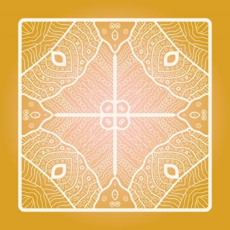 Oriental mandala motif round lase pattern on the yellow background, like snowflake or mehndi paint Stock Vector - 18115737