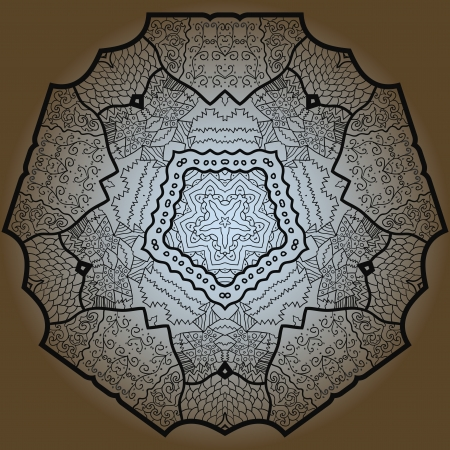 Oriental mandala motif round lase pattern on the brown background, like snowflake or mehndi paint Stock Vector - 18115746