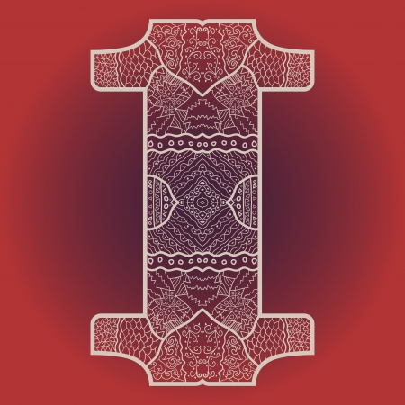 Oriental mandala motif round lase pattern on the red background, like snowflake or mehndi paint Vector