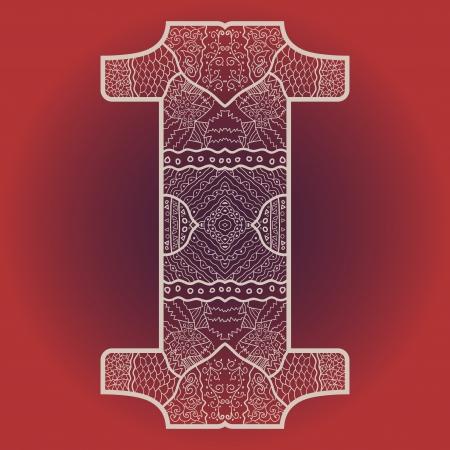 Oriental mandala motif round lase pattern on the red background, like snowflake or mehndi paint Stock Vector - 18115740