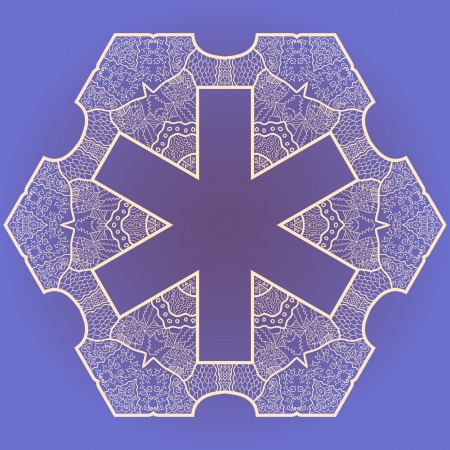 Oriental mandala motif round lase pattern on the violet background, like snowflake or mehndi paint Stock Vector - 18115749